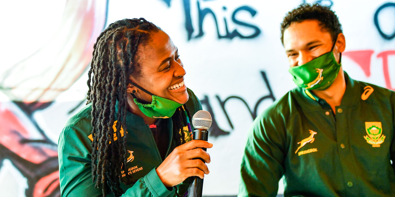 Mpupha at a schools visit with Springbok scrumhalf Herschel Jantjies.